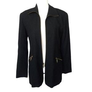 Vintage Henri Bendel Sz 8 Blazer Jacket Black Wool